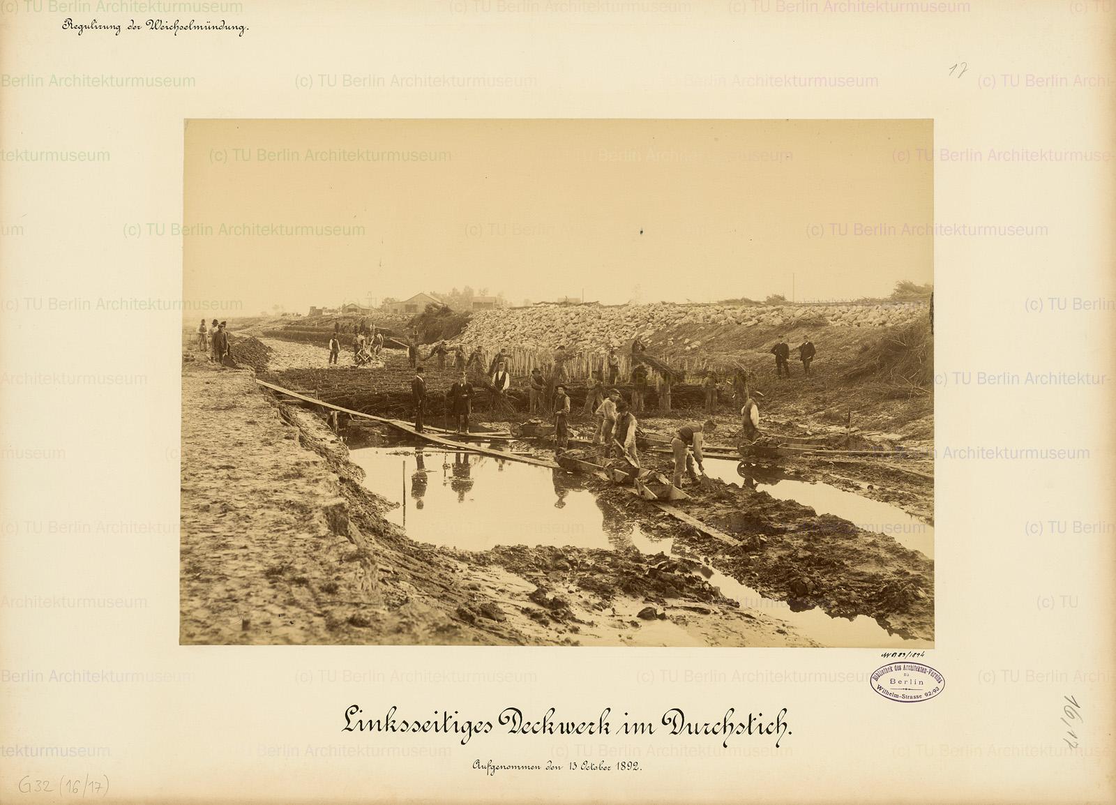 Nowe ujście Wisły - budowa przekopu  w roku 1895